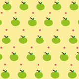 Cute green apple wallpaper. With pastel yellow background Royalty Free Stock Images