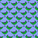 Cute green Birds set. Vector seamless pattern. Royalty Free Stock Photo