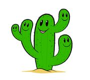 Cute green cartoon cactus friends with happy faces Stock Photos