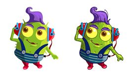 Cute green cartoon characres royalty free stock photos