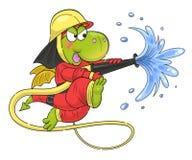 Cute funny dragon firefighter stock illustration