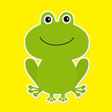 Cute green cartoon frog. White background. Royalty Free Stock Image