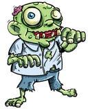 Cute green cartoon zombie. Isolated on white Stock Photos
