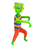 Cute green cartoon zombie character set part of body monsters vector illustration. Stock Images