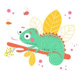 Cute green chameleon sitting on the orange branch with light yellow leaves on background, vector illustration. Art. Poster for nursery or kids room poster royalty free illustration