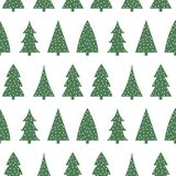 Cute green christmas tree on a white background pattern seamless. Vector Stock Images