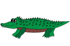Cute green crocodile isolated on the white background Stock Photos