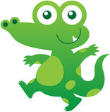 Cute green crocodile walking and smiling mischievously Stock Photography