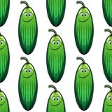 Cute green cucumber in a seamless pattern Royalty Free Stock Photography