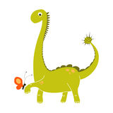 Cute green dinosaur cartoon holding a small red butterfly. Vector EPS 10 dino doodle set Royalty Free Stock Photos