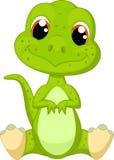 Cute green dinosaur cartoon vector illustration