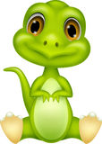 Cute green dinosaur cartoon Stock Images