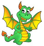 Cute green dragon. Color illustration Stock Photography