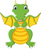Cute green dragon flying Royalty Free Stock Images