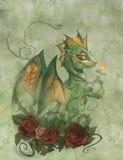 Cute green dragon Stock Photos