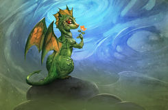 Cute green dragon Stock Images