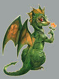 Cute green dragon Stock Photos