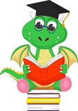 Cute green dragon reading a book while sitting on a pile of books. Vector illustration of cute green dragon reading a book while sitting on a pile of books  on Stock Photography