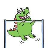 Cute green dragon stretches upwards on the horizontal bar. Vector illustration Stock Photo