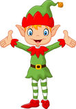 Cute green elf boy costume hands up . isolated on white background Stock Image