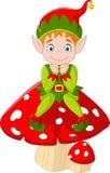 Cute green elf sitting on mushroom. Illustration of Cute green elf sitting on mushroom Stock Images