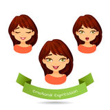 Cute green-eyed brunette with different facial expressions. Set of different emotion: smile, laugh, surprise. Cartoon girl with different expressions of Royalty Free Stock Photography