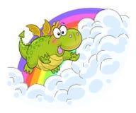 Cute funny dragon flying near the rainbow vector illustration