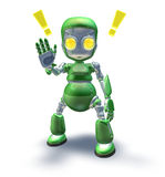 Cute green friendly robot mascot showing Royalty Free Stock Photography
