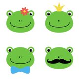 Cute green frog with flower, crown, bow, mustache cartoon character isolated on white background royalty free illustration