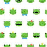 Cute green frog with flower, crown, bow, mustache cartoon character kawaii pattern vector illustration