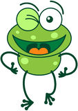 Cute green frog winking enthusiastically Royalty Free Stock Images