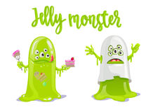 Cute green Jelly Monster with cake and candies and like scary ghost. Royalty Free Stock Photography