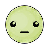 Cute green kawaii emoticon face Stock Photography