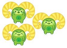 Cute Green Kawaii Yeti Stock Images