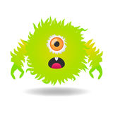 Cute green monster Stock Images