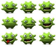 Cute green monster. 3d cartoon cute green monster Stock Photos