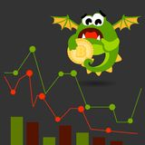 Cute green monster with bitcoin coin. Vector illustration. cartoon style stock photography