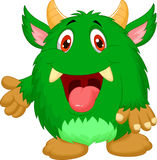 Cute green monster cartoon Stock Photo