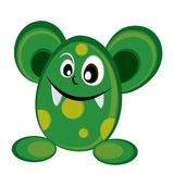 Cute green monster in deep green shades Stock Images