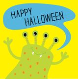 Cute green monster with speech text bubble. Happy Halloween card. Flat design. Stock Photos