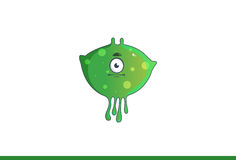 Cute green monster Straight faced. Vector illustration. Isolated on white background Royalty Free Stock Images