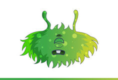 Cute green monster Very Sad. Royalty Free Stock Image