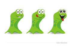 Cute green monsters. An  white cute green monsters Royalty Free Stock Photos