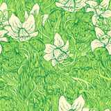 Cute green narcissus floral seamless pattern Royalty Free Stock Photo