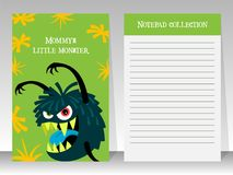 Cute green notebook template with monster stock illustration
