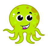 Cute green octopus isolated on white Stock Images