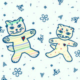 Cute green pattern with cats and flowers and birds Royalty Free Stock Images