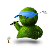 Cute green person playing golf. Cute green grass person playing golf Royalty Free Stock Images