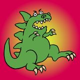 Cute green screaming cartoon dino. Vector illustration. Royalty Free Stock Photography