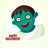 Cute green smiling zombie man, vector illustration Royalty Free Stock Photography